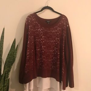 Lace sweater with undershirt
